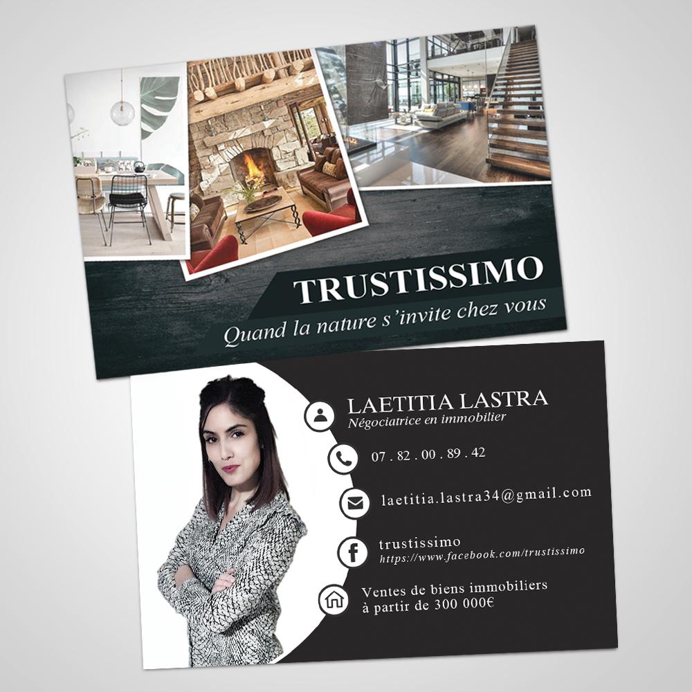 demo des cartes de visite pour une negociatrice en immobilier