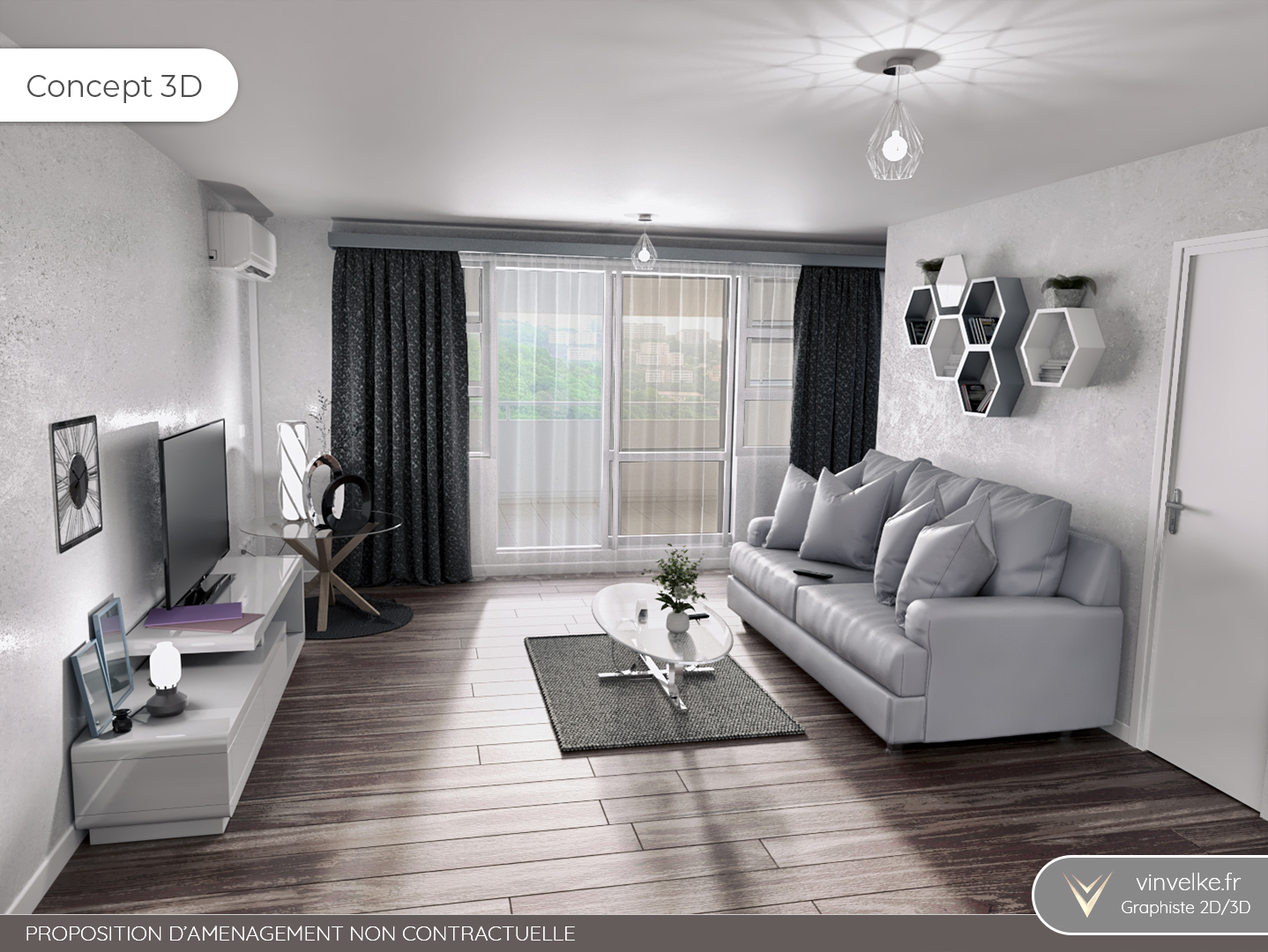 concept 3d du home staging pour un salon