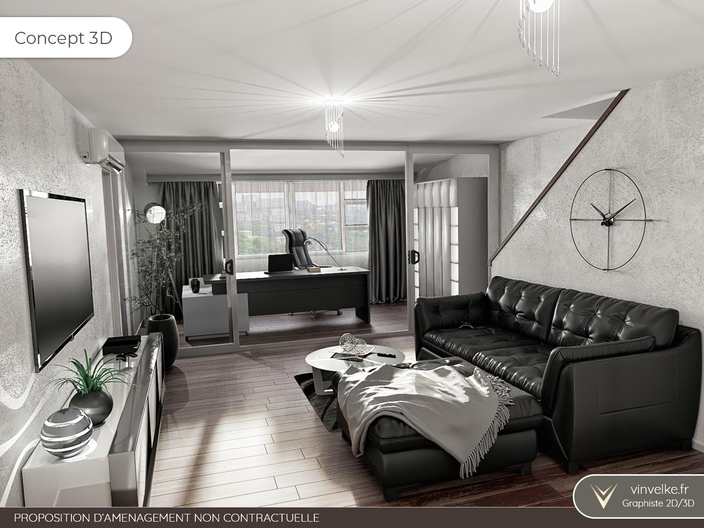 concept 3d du home staging virtuel pour un salon avec bureau