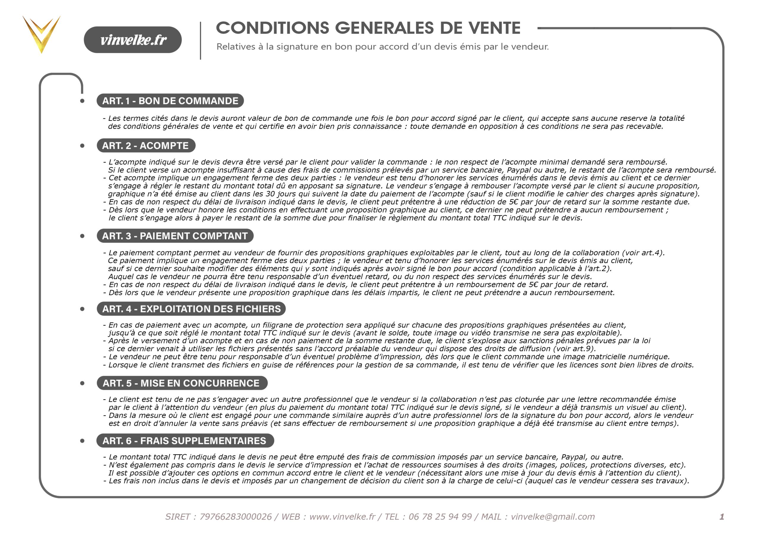 premiere page des conditions generales de vente du graphiste pas cher