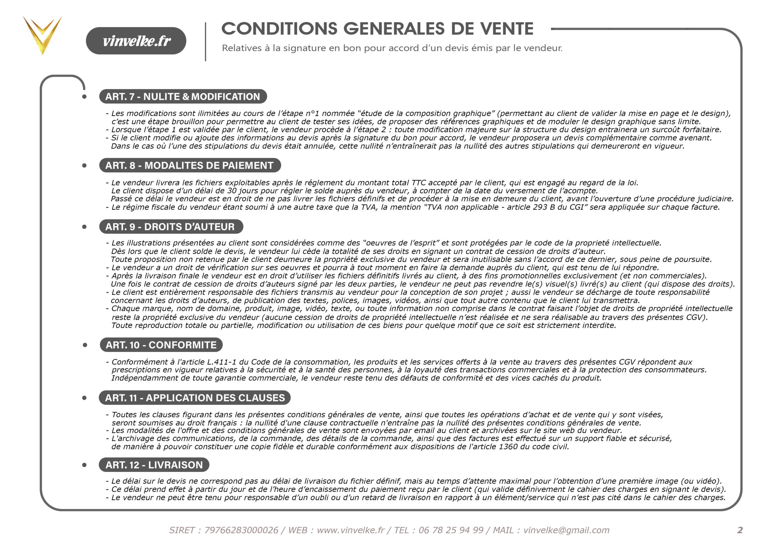 seconde page des conditions generales de vente du graphiste pas cher