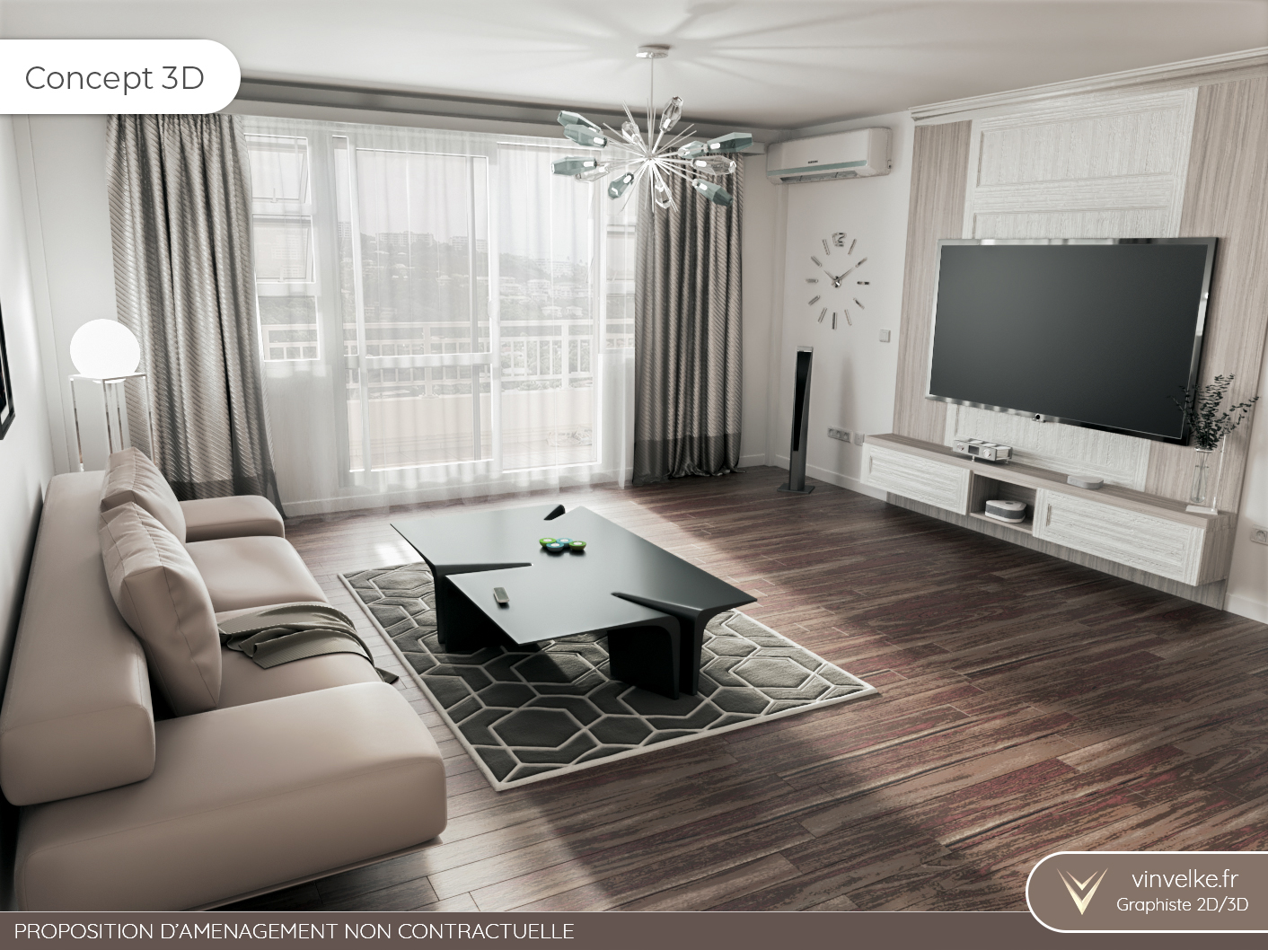 concept digital du home staging virtuel pour un salon elegant