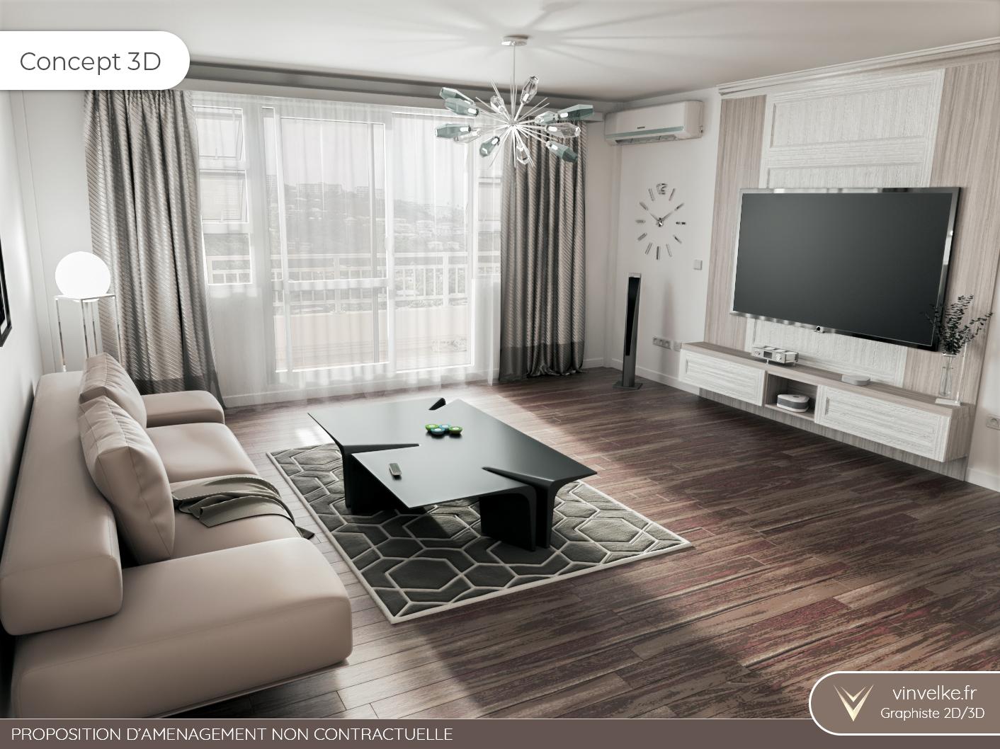 concept 3d du home staging virtuel pour un salon elegant