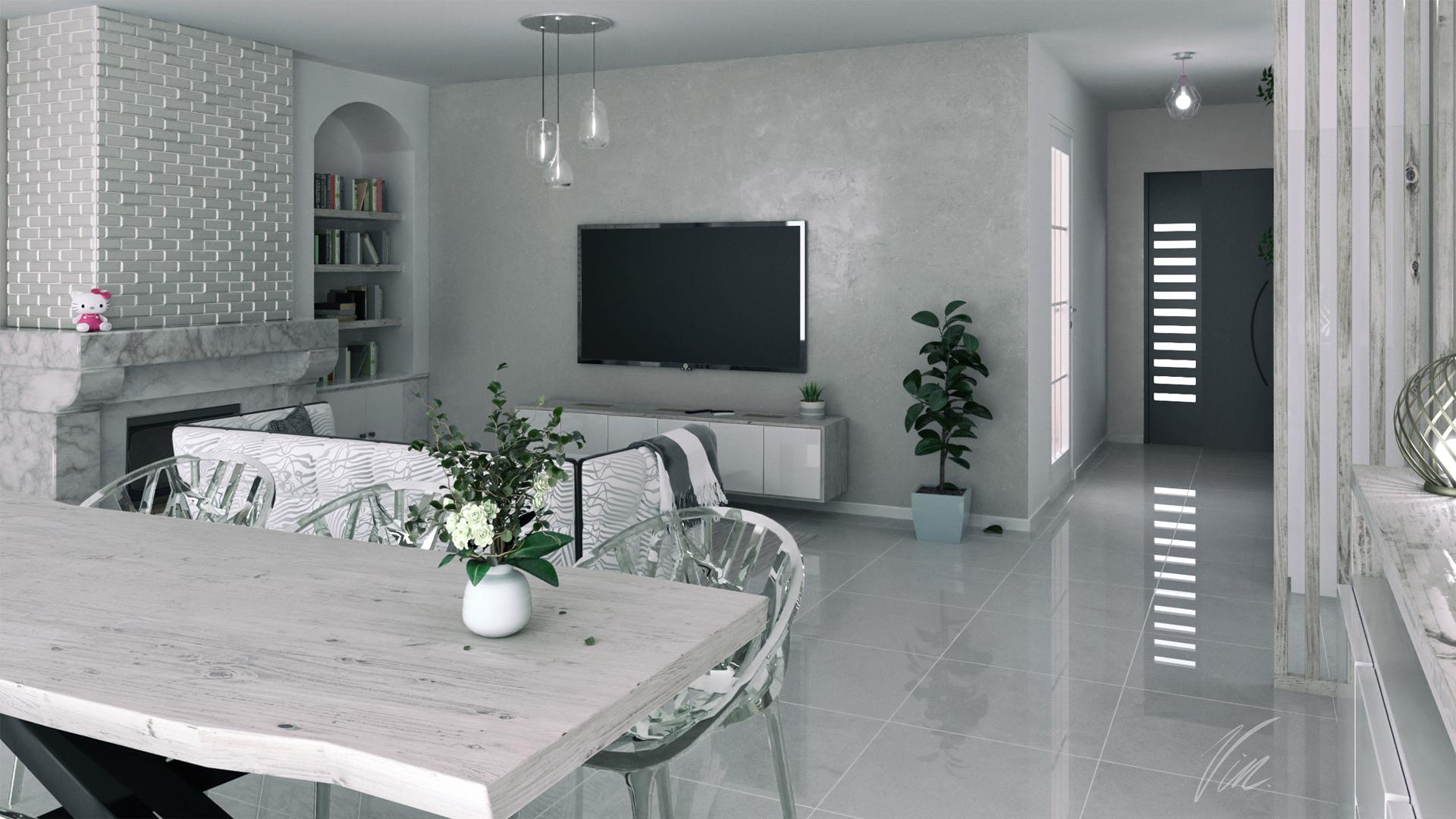 home staging virtuel 3d pour une salle a manger avec salon graphiste pas cher