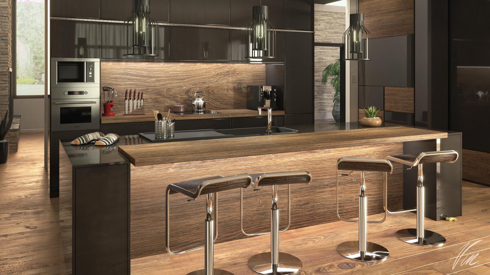 home staging 3d pour une cuisine moderne en bois